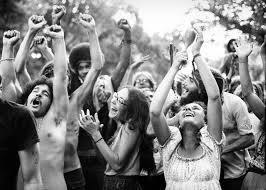 joyful hippies at human be-in 1967