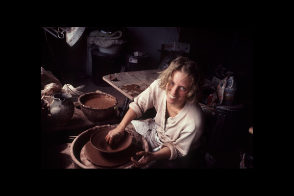 Kate at potter's wheel