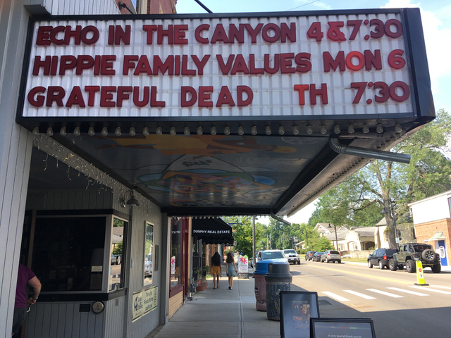 Hippie Family Values on marquis in Yellow Springs, OH, July 2019